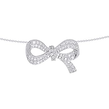 Wishrocks Round Cut White Cubic Zirconia Bow Circle Pendant Necklace in Sterling Silver