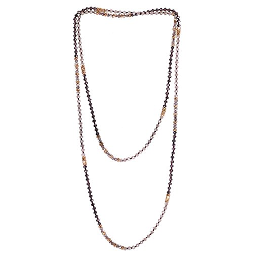 - KELITCH New Soutoir Necklaces Crystal Beaded Strand Necklace Double Boho Women Necklace