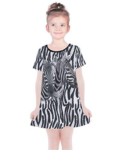 PattyCandy Girls Dark Gray Zebra Print Comfy Simple Cotton Dress - 4