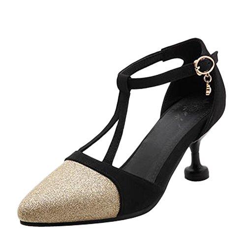 MissSaSa Damen high heel T-Spange Pointed Toe Pailletten Pumps Gold