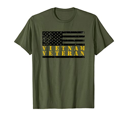 (Vietnam Veteran Distressed American Flag T-Shirt Yellow )