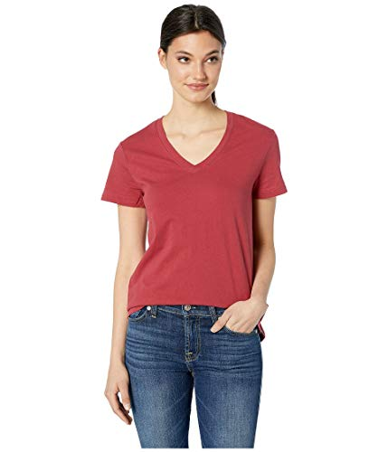 Hurley Women's Solid Perfect V-Neck Tee Shirt Team Crimson Large