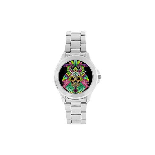 Multicolored Sugar Skull Unisex Stainless Steel Watch,Watch Face Diameter: 1.61