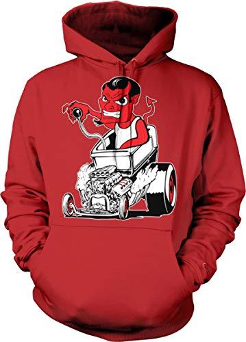 Hoodteez Hot Rod Devil, Street Rod Hooded Sweatshirt, XL Red
