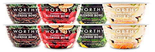 Worthy Variety Pack Plant-Based Superfood Blendie Bowl (8 pack of 5.7 oz.Cups) Dairy-Free, Soy-Free, Vegan, Non-GMO, On-The-Go Meal Replacement w/ 8 g. Protein & 8 g. Fiber