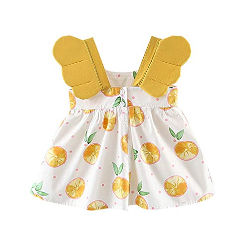 VEFSU Fashion Toddler Baby Girls Fruit Peach Print Princess Dress Cotton Blend Casual Lovely Clothes