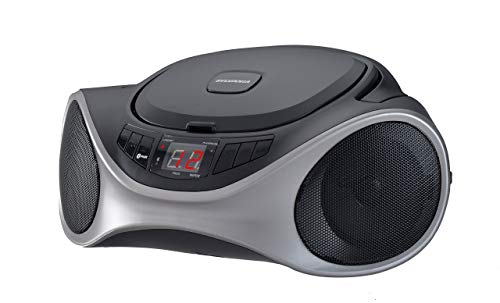 Sylvania SRCD1063BT-GRAPHITE Bluetooth Portable CD Radio Boom Box, Graphite (Renewed)