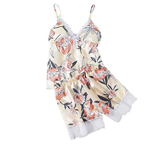 AHAYAKU Women Satin Flower Print Silk Lingerie Bow Lace Pajamas Sleepwear Shorts Suit 2019 Summer Yellow