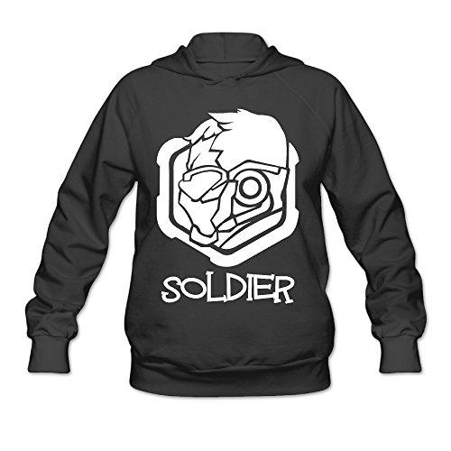 Monaco Ladys 50s Fashion (Overwatch Women's Soldier 76 Hoodies Hooded Sweatshirt Size M Black)