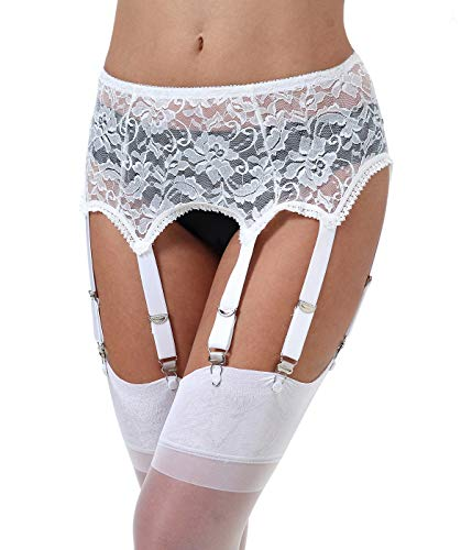 E-Laurels Lace Sexy Women's Mesh Suspender/Garter Belt with Six Straps Metal Clip for Thigh High Stockings(Garter Belt Sold Only) (White_Lace, X-Large)