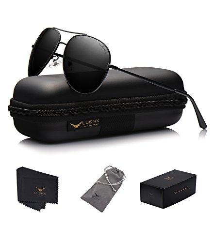 LUENX Homme Lunettes de Soleil Aviator Polarisé avec Étui - UV 400 Protection Miroir Argenté Lunettes Argenté monture 60mm pC8D9