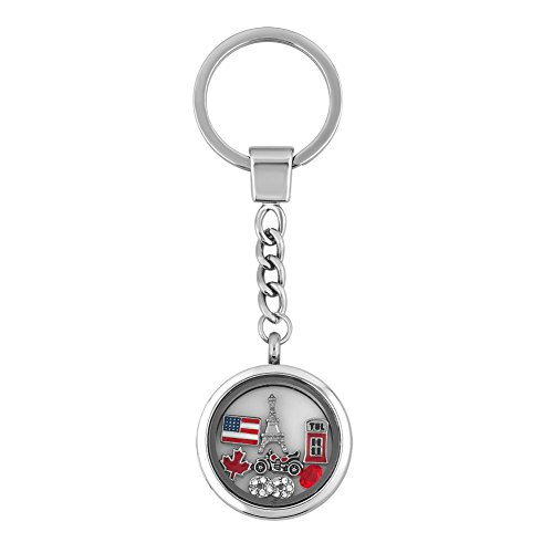 Q&Locket Love Travel Hot Red Heart Floating Charms In Living Memory Locket Keychain 30mm Round Key Ring