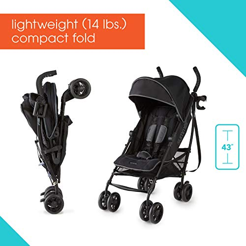 41Zwp70zfbL - Summer 3Dlite+ Convenience Stroller, Matte Black – Lightweight Umbrella Stroller With Oversized Canopy, Extra-Large Storage And Compact Fold