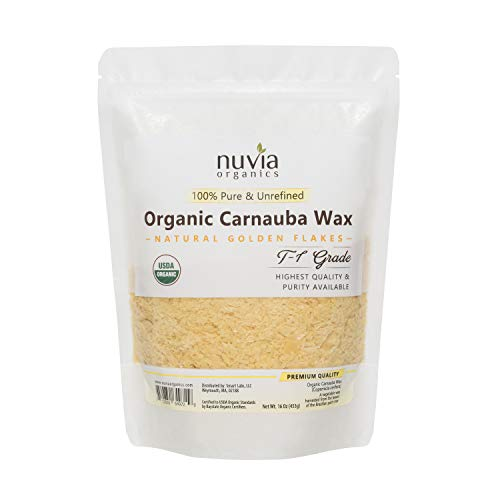 Nuvia Organics USDA Certified Carnauba Wax, 100% Vegan - Great for DIY Cosmetics, Food Grade, Various Uses, 16oz