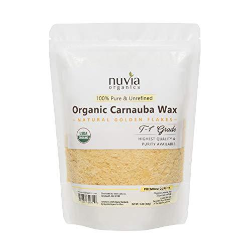 Nuvia Organics USDA Certified Carnauba Wax, 100% Vegan - Great for DIY Cosmetics, Food Grade, Various Uses, 16oz (Carnauba Wax Organic)