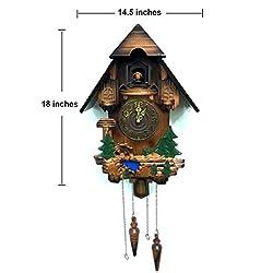 Rylai Vintage Wall Clock Handcrafted Wood Cuckoo Clock-N.DIM. 18x14.5 IN