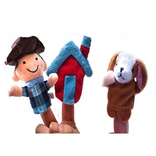 Happy Cherry - Lot de 3 Types Différents Marionnettes à Doigt - une Maison + un Chien + un Garçon - Peluche Doudous Jouets pour Enfant Bébé