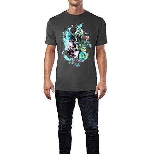 SINUS ART® Modeillustration mit Frau, Vogel und Blumen Herren T-Shirts in Smoke Fun Shirt mit tollen Aufdruck