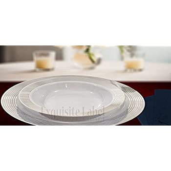 \ Exquisite Label\  White with Silver Heavyweight Plastic Elegant Disposable Plates Wedding Party Elegant  sc 1 st  Amazon.com : nice plastic plates for wedding - pezcame.com