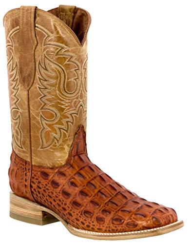 Team West - Men's Cognac Crocodile Back Pattern Leather Cowboy Boots Square Toe 12.5 D(M) US