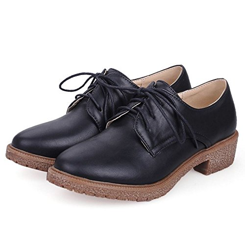 Zanpa Mujer Casual Zapatos Oxford Tacon Bajo Shoes Black