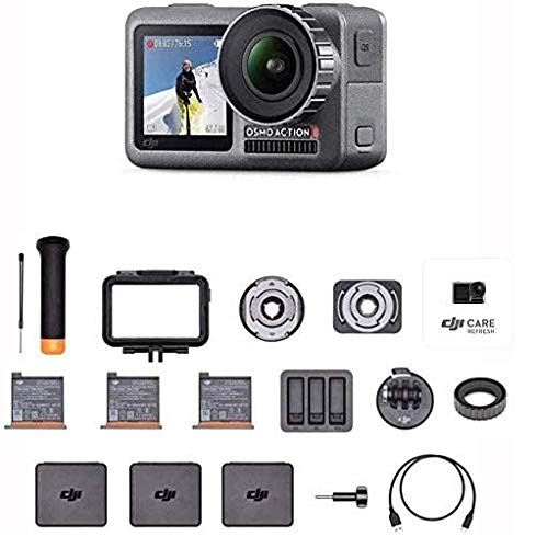 DJI Osmo Action Prime Combo – Cámara Digital con Kit de Accesorios y Care Refresh, 12MP 1/2.3″ CMOS, Dos Pantallas, Impermeable hasta 11m, Estabilización Integrada, Foto y Video en 4K HDR – Negro