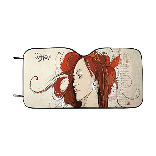 Modern Durable Car Sunshade,Muse Woman Portrait in Grunge Style Elegance Hand Drawn Mystic Beauty Picture for car,55
