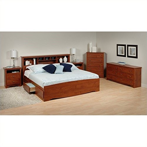Prepac Monterey 5-Piece King Bedroom Set in Cherry