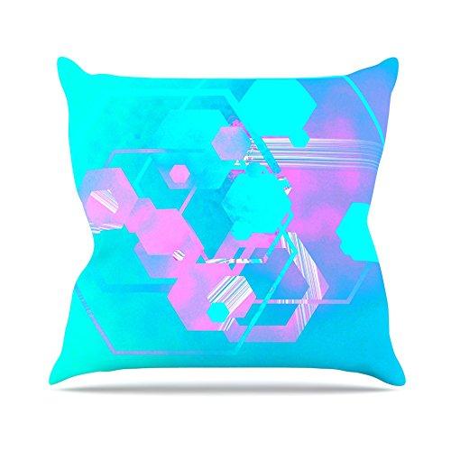 Kess InHouse Infinite Spray Art Emersion Pink Aqua Throw Pillow 16 by 16