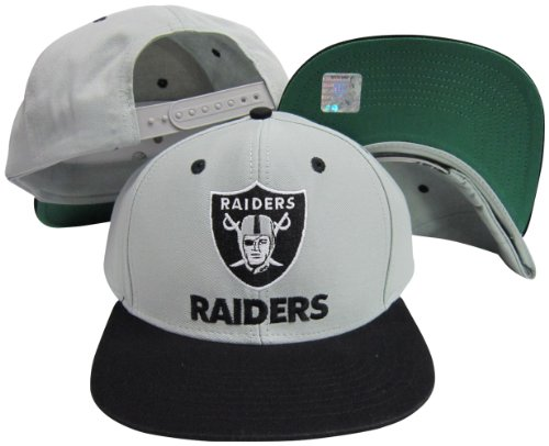 Reebok Oakland Raiders Word Grey/Black Two Tone Plastic Snapback Adjustable Plastic Snap Back Hat/Cap