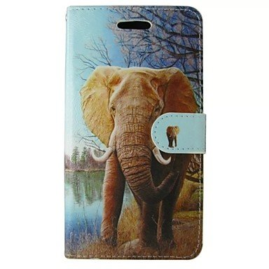 Orange Elephant Painted PU Phone Case for Huawei P8 Lite/P8/Y530 (Compatible Models : P6)