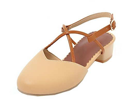 Sandals Solid Women's WeiPoot Closed Heels EGHLH006684 Pu apricot Buckle Low Toe UR4U8qfxw1