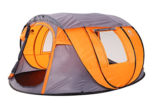 Bravindew Waterproof Tent X-Large Instant 5-6 Person Pop Up Dome Tent with Skywindow-Durable Portable Easy Up Shelter with 12 Stakes & Carrying Bag, Ideal for Family Camping (Orange)