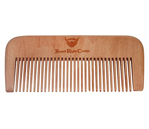Barbe huile peigne statique gratuit, Peach Wood Straight & Light Weight, fonctionne très bien avec & Moustache Wax, assez petit pour être un peigne de poche!