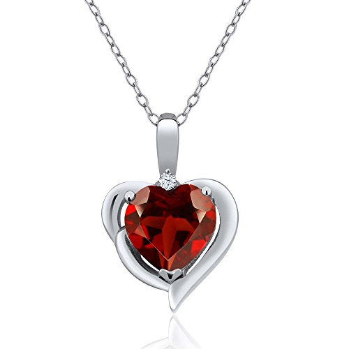 Red Garnet and White Created Sapphire 925 Sterling Silver Pendant Necklace 1.82 Cttw Heart Shape with 18 Inch Silver Chain