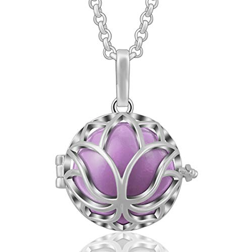 AEONSLOVE Lotus Flower Harmony Bola Chiming Bell Pendant Necklaces with 30