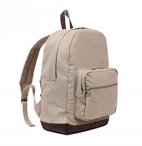 Vintage Canvas Teardrop Backpack with Leather Accents (Khaki)