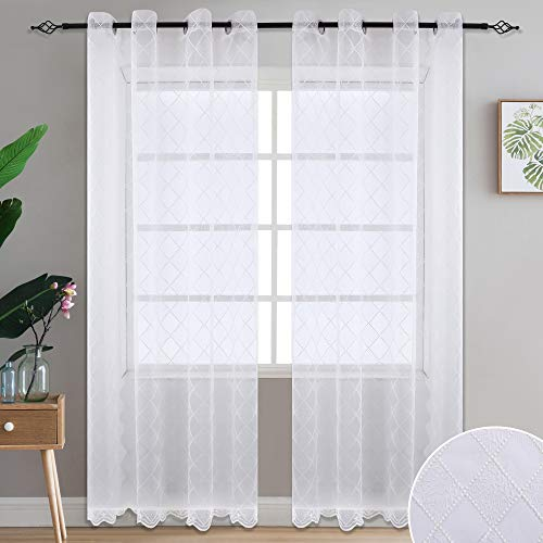 Sheer Curtains Embroidery Trellis Design Floral Embroidered Geometric Quatrefoil Eyelet Semi Sheer Draperies for Living Room Grommet Curtains 84 Inches Long 2 Panels,Beige,2 ()