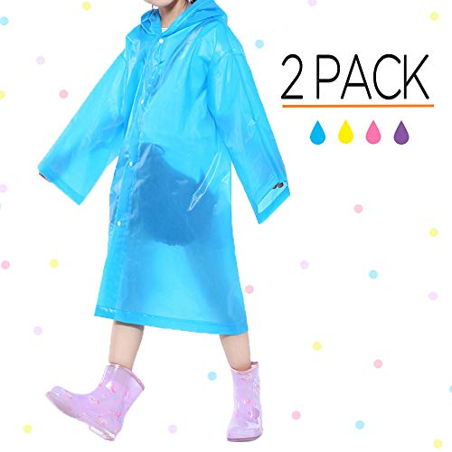 (Opret Portable Kids Children Rain Poncho, Reusable Raincoat with Hoods and Sleeves, Durable, Lightweight and Perfect for Outdoor Activities (2 Pack)