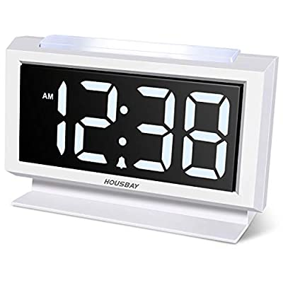 Housbay Digital Alarm Clocks for Bedrooms - Handy Night Light, Large Numbers with Display Dimmer, Dual USB Chargers, 12/24hr, Outlets Powered Compact Clock for Nightstand, Desk, Shelf - 【LARGE 5.3'' LED DISPLAY WITH 1.8'' JUMBO DIGITS】- This large led display makes it easy for anyone to check the time from across the room. The full range dimmer facilitates time viewing at all times. Great choice for your bedside and kids' room 【HANDY 2-COLOR NIGHT LIGHT】- White and orange. The brightness-adjustable night light will come in handy especially for baby's nighttime feedings and diaper changes, comforting child to sleep with gentle light on and lighting up the path to bathroom 【HANDY DUAL USB CHARGERS】- It comes with dual USB ports at the back to charge your phones, tablets, or other 5V electronics - clocks, bedroom-decor, bedroom - 41Zwt1uBtML. SS400  -