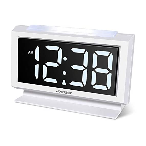 Housbay Digital Alarm Clocks for Bedrooms - Handy Night Light, Large Numbers with Display Dimmer, Dual USB Chargers, 12/24hr, Outlets Powered Compact Clock for Nightstand, Desk, Shelf - 【LARGE 5.3'' LED DISPLAY WITH 1.8'' JUMBO DIGITS】- This large led display makes it easy for anyone to check the time from across the room. The full range dimmer facilitates time viewing at all times. Great choice for your bedside and kids' room 【HANDY 2-COLOR NIGHT LIGHT】- White and orange. The brightness-adjustable night light will come in handy especially for baby's nighttime feedings and diaper changes, comforting child to sleep with gentle light on and lighting up the path to bathroom 【HANDY DUAL USB CHARGERS】- It comes with dual USB ports at the back to charge your phones, tablets, or other 5V electronics - clocks, bedroom-decor, bedroom - 41Zwt1uBtML. SS570  -