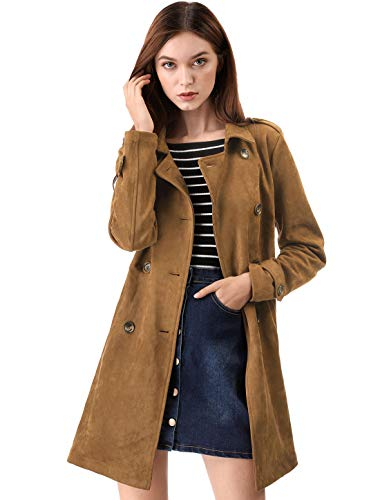 Allegra K Women's Notched Lapel Double Breasted Faux Suede Trench Coat Jacket with Belt