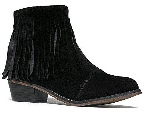 Breckelles Women Suede Fringe Cap Toe Ankle Booties, Black - 18 - 6 B(M) US
