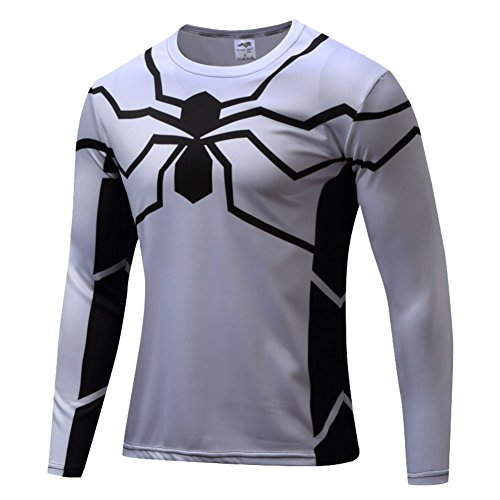 Cheap Hawkeye Costumes (HOCOOL Mens Spider Men Halloween Costume Shirt Quick-Dry Running Tee(White) 4XL)