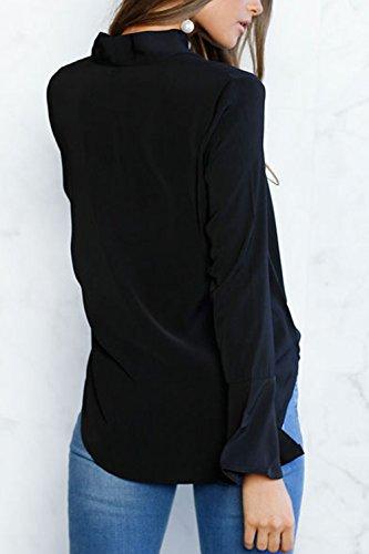 La Mujer Elegante De Manga Larga Trompeta Pussy Bow Knot Gasa Ol Oficina Blusa Camisa Top Black