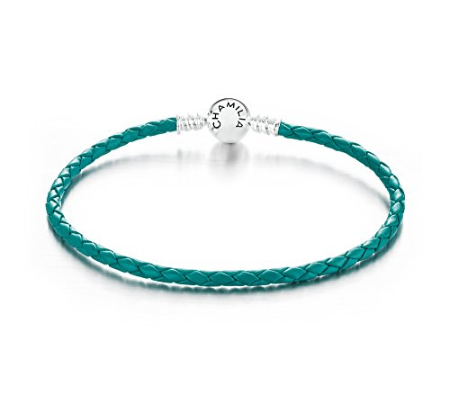 Chamilia Authentic Sterling Large Braided Teal Leather Bracelet w/Round Clasp 7.9 in / 20.1 cm 1030-0136