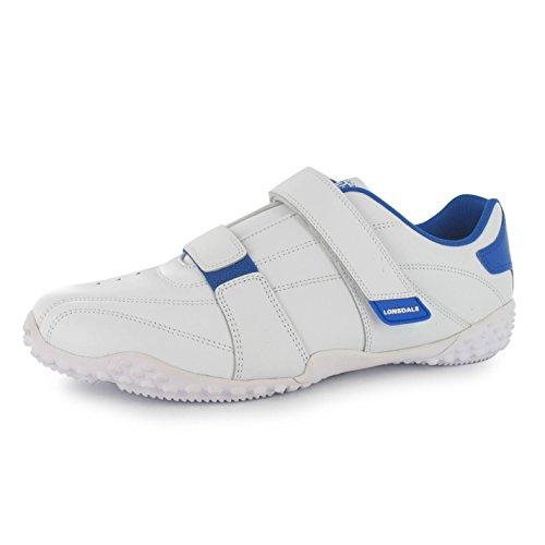 Sport Fulham Nouveau Formateurs Hommes Lonsdale Blanc Bleu Espadrilles Chaussures Loisir 0awFYXq