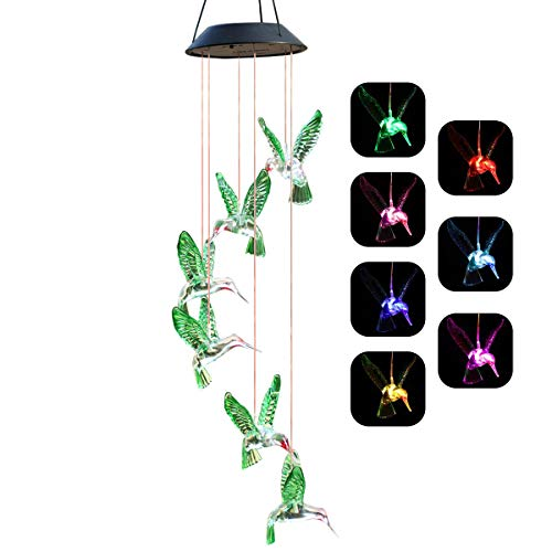 Chasgo Solar Hummingbird Wind Chime Color Changing Solar Mobile Wind Chime Outdoor Mobile Hanging Patio Light (Womens Birthday Ideas Gifts)