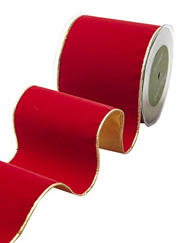May Arts 535-4-14 Red/Gold 4'' Velvet Ribbon with Gold Backing,Red/Gold,10 yd by May Arts