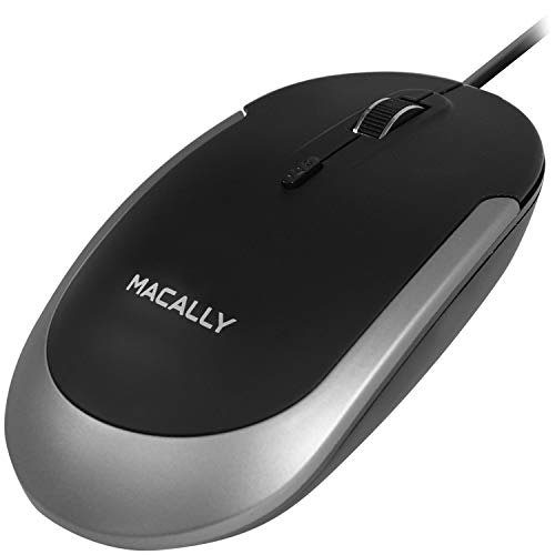 Macally Silent USB Mouse Wired for Apple Mac or Windows PC Laptop/Desktop Computer - Slim & Compact Mice Design with Optical Sensor & DPI Switch 800/1200/1600/2400 - Small for Easy Travel - Space Gray